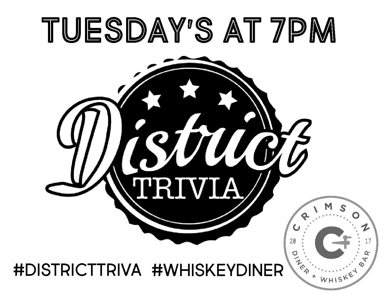 District Trivia @ Crimson Whiskey Bar Crimson   Cafe, Diner +